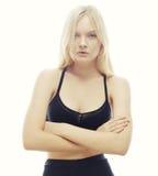 Belle femme avec de longs cheveux blonds Mannequin posant à s Photographie stock libre de droits