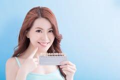 Belle femme avec des dents de santé Photo stock