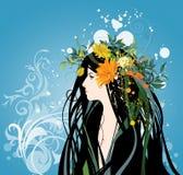 Belle femme avec des fleurs illustration de vecteur