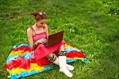 Belle femme avec l'ordinateur portatif sur l'herbe Image stock