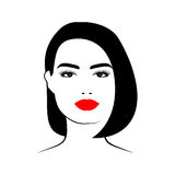 Belle femme avec la coupe de cheveux et le maquillage Image libre de droits