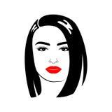 Belle femme avec la coupe de cheveux et le maquillage Photographie stock libre de droits