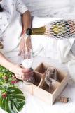Belle femme avec la glace de champagne Image libre de droits