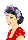 Belle femme avec la guirlande Illustration Libre de Droits