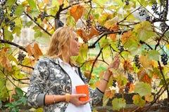 Belle femme avec la tasse orange aux vignes Photographie stock