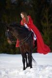 Belle femme avec le manteau rouge avec le cheval extérieur photo libre de droits