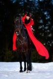 Belle femme avec le manteau rouge avec le cheval extérieur en hiver photos stock