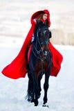 Belle femme avec le manteau rouge avec le cheval extérieur en hiver Photo stock