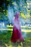 Belle femme avec le manteau rouge dans les bois photo stock