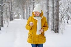 Belle femme avec le smartphone à disposition souriant Image libre de droits