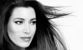 Belle femme avec les cheveux droits sains Images libres de droits