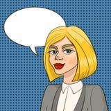 Belle femme blonde dans le costume futé d'affaires avec le ballon de la parole illustration stock