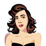 Belle femme châtain dans une robe noire illustration libre de droits