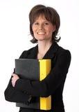 Belle femme d'affaires étreignant son cahier Images libres de droits