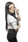 Belle femme d'affaires asiatique sexy avec des documents Photographie stock libre de droits