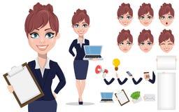 Belle femme d'affaires dans des vêtements de style de bureau illustration libre de droits
