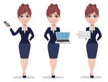 Belle femme d'affaires dans des vêtements de style de bureau illustration de vecteur