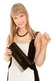 Belle femme d'affaires dans la robe et l'embrayage Image stock