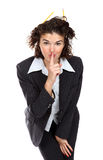 Belle femme d'affaires faisant des gestes pour garder le silence Image stock