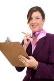 Belle femme d'affaires prenant des notes photo stock