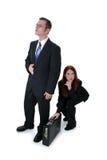 Belle femme d'affaires volant la serviette complètement d'argent de B Photographie stock libre de droits