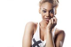 Belle femme d'Afro-américain photographie stock libre de droits