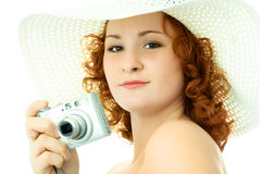 belle femme d'appareil-photo Images stock