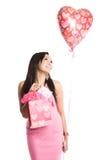 Belle femme d'Asiatique de valentine image stock