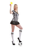Belle femme dans des vêtements d'arbitre du football Photo stock