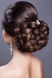 Belle femme dans l'image de la jeune mariée Cheveux de beauté Vue arrière de coiffure photos libres de droits
