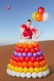Belle femme dans la robe de ballon photo libre de droits
