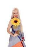 Belle femme dans la robe indienne avec le tournesol Image libre de droits