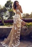Belle femme dans la robe luxueuse de dentelle posant au parc image stock