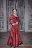 Belle femme dans la robe médiévale rouge Images stock