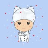 Belle femme dans le chapeau confortable d'hiver avec des oreilles de minou, écharpe, mitaines Saint Valentin de saint Coeurs et f illustration stock