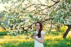 Belle femme dans les pommiers de floraison Photos libres de droits