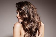 Belle femme de brune. Longs cheveux bouclés. images stock
