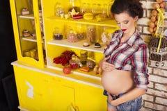 Belle femme de brune sur une 7ème grossesse de mois dans la chemise de plaid Photo libre de droits