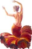 Belle femme de danse en rouge fleuve de peinture à l'huile d'horizontal de forêt Photographie stock libre de droits