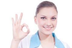 Belle femme de la Science médicale avec le signe en bon état Photos stock