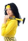 belle femme de marteau de brunette Photos stock