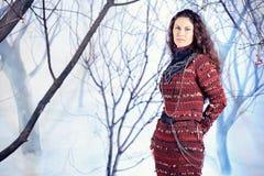 Belle femme de mode de portrait dans la robe tricotée photo stock
