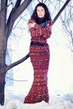 Belle femme de mode de portrait dans la robe tricotée photo libre de droits