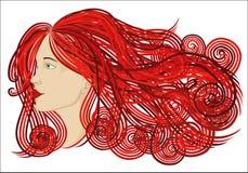 Belle femme de profil avec onduler de longs cheveux Style graphique Soyez illustration libre de droits