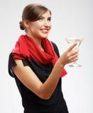 Belle femme de sourire avec le verre de vin Photographie stock libre de droits