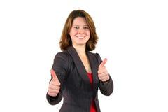 Belle femme de sourire d'affaires avec des pouces vers le haut Photographie stock libre de droits