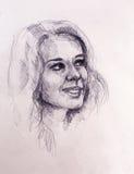 Belle femme de verticale Dessin au crayon sur le vieux papier Images libres de droits