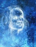 Belle femme de verticale Dessin au crayon sur le vieux papier Image stock