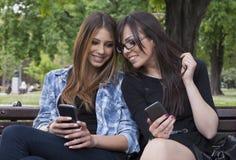 Belle femme deux dactylographiant au téléphone intelligent en parc images stock