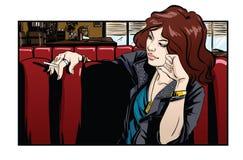 Belle femme en café Photo libre de droits
